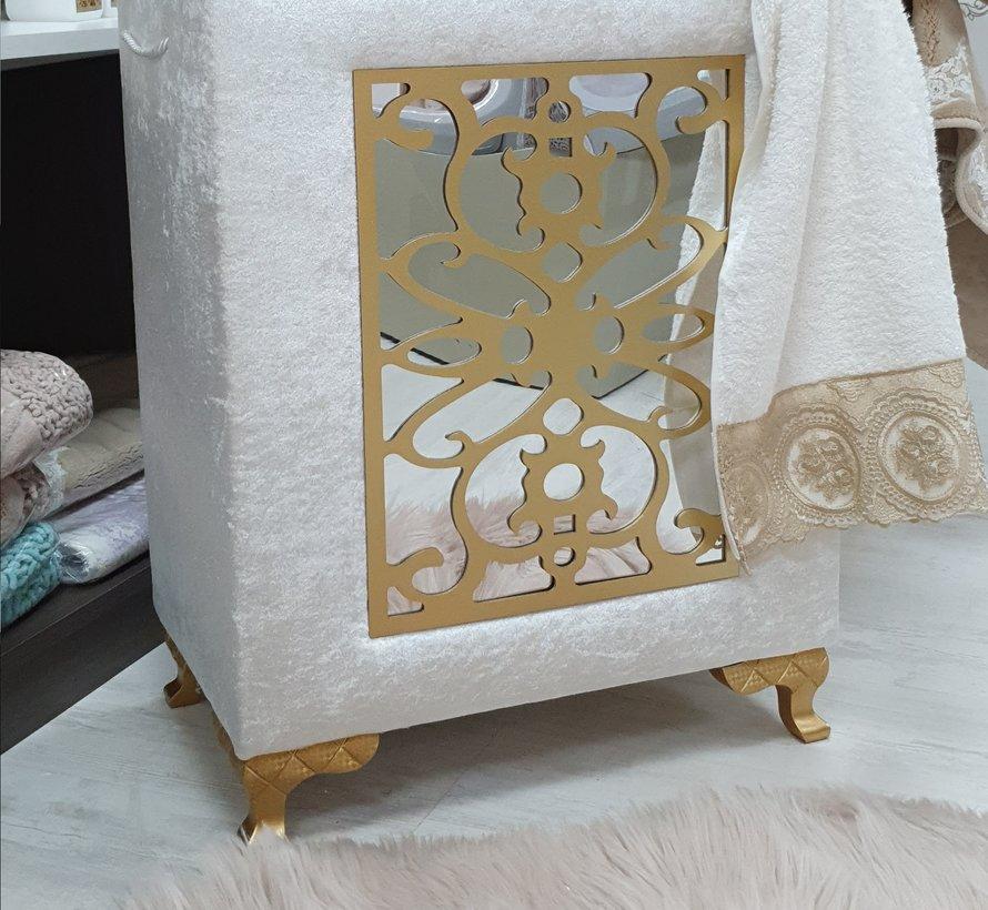 4K Wasmand Sofia Creme - Gold Met Spiegel