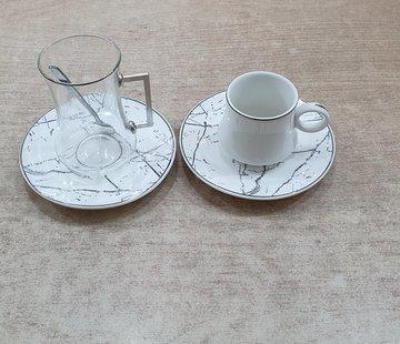 BRICARD PORCELAIN Bricard 24 Delig Thee - Espressoset Marmer Wit - Zilver
