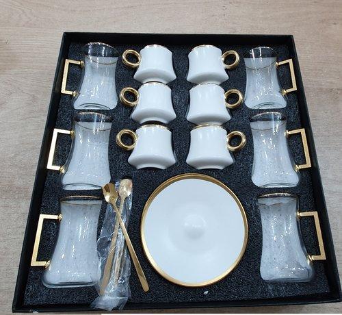 BRICARD PORCELAIN Bricard 24 Delig Thee - Espressoset Wit - Goud