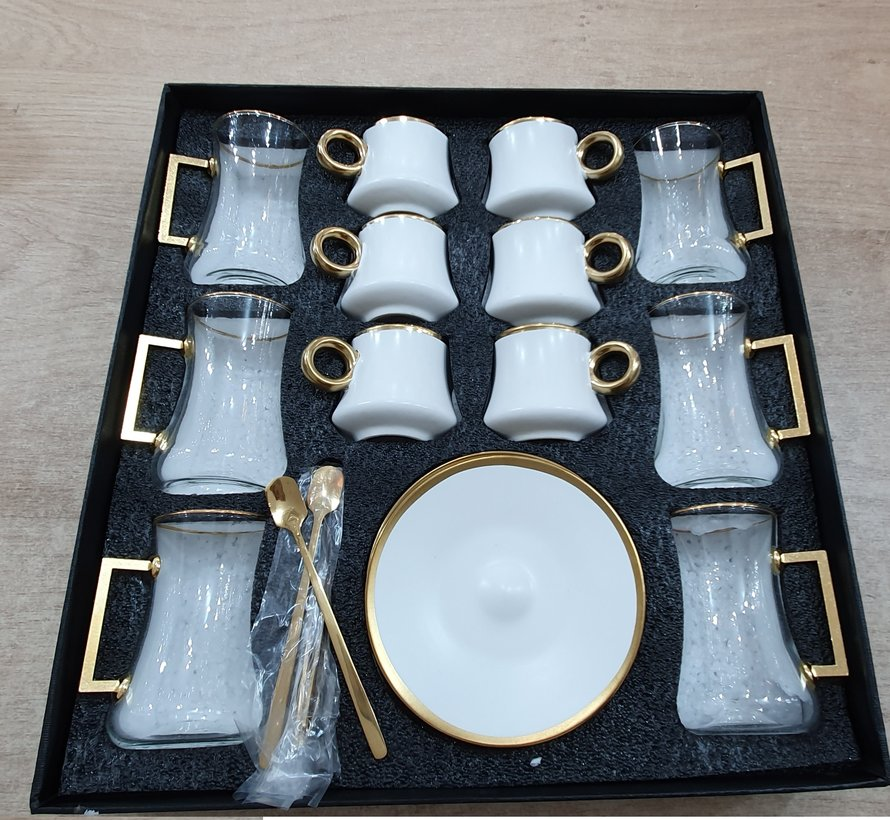 Bricard 24 Delig Thee - Espressoset Wit - Goud