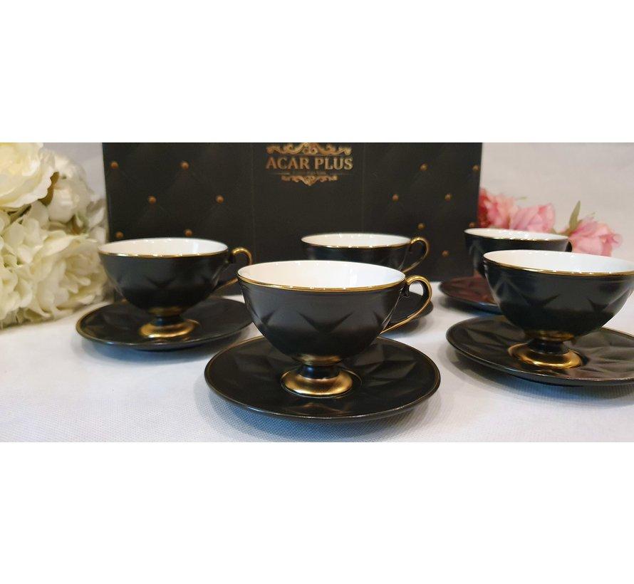 ACR Cevher 12 Delig Espressoset Zwart-Gold