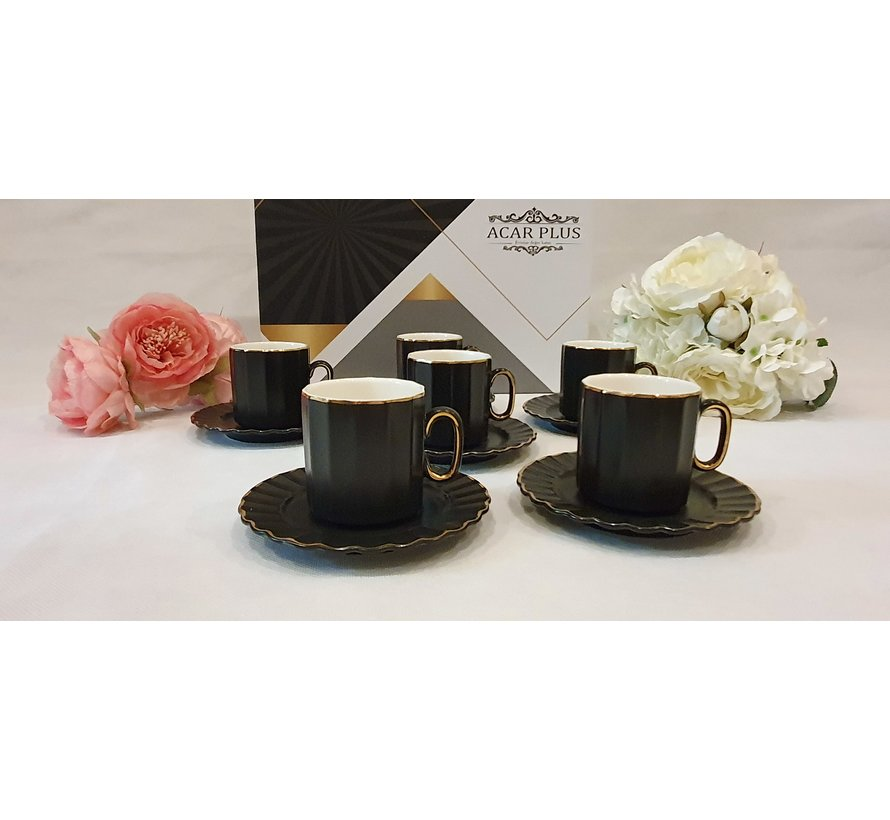 ACR Manolya 12 Delig Espressoset Zwart