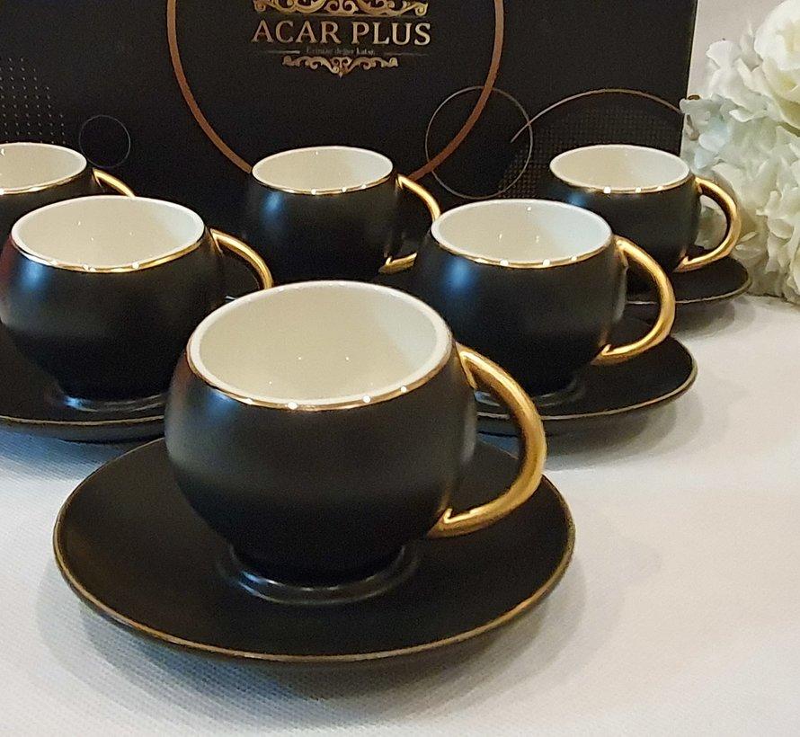 ACR Bahar 12 Delig Espressoset Zwart