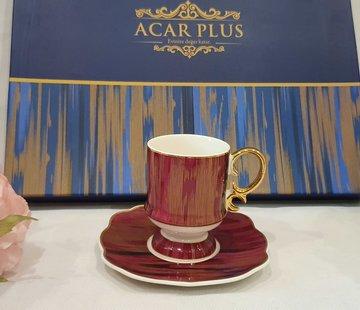 ACR ACR Saray 6 Kisilik Turk Kahvesi Seti Bordo