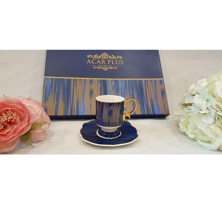 ACR Saray 12 Delig Espressoset Blauw