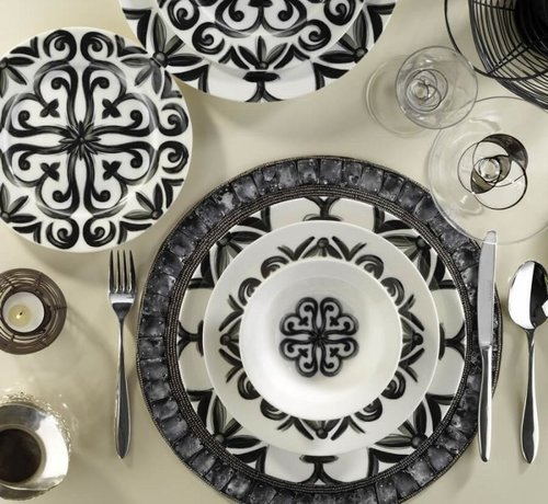 KUTAHYA Kütahya Porselen Bone Kalipso 52-delig Serviesset met patroon 880042