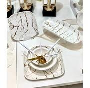 BRICARD PORCELAIN Bricard Porcelain Mat Marbel  Beyaz 6-Kisilik | 25-parça Yemek Takımı