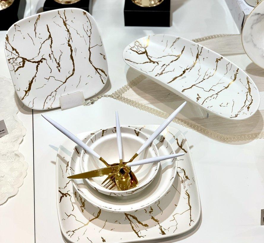 Bricard Porcelain Mat Marbel Wit 6-Persoons | 25-Delig Serviesset