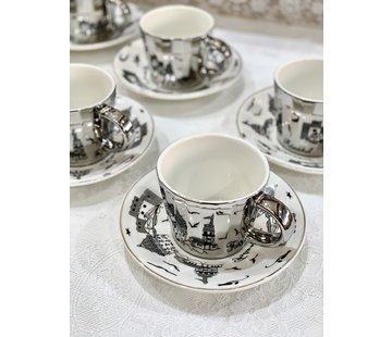 BRICARD PORCELAIN Bricard Galata 12 Delig Spiegel Koffie-Theeset Zilver