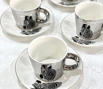 BRICARD PORCELAIN Bricard Zebra 12 Delig Spiegel Koffie-Theeset  Zilver