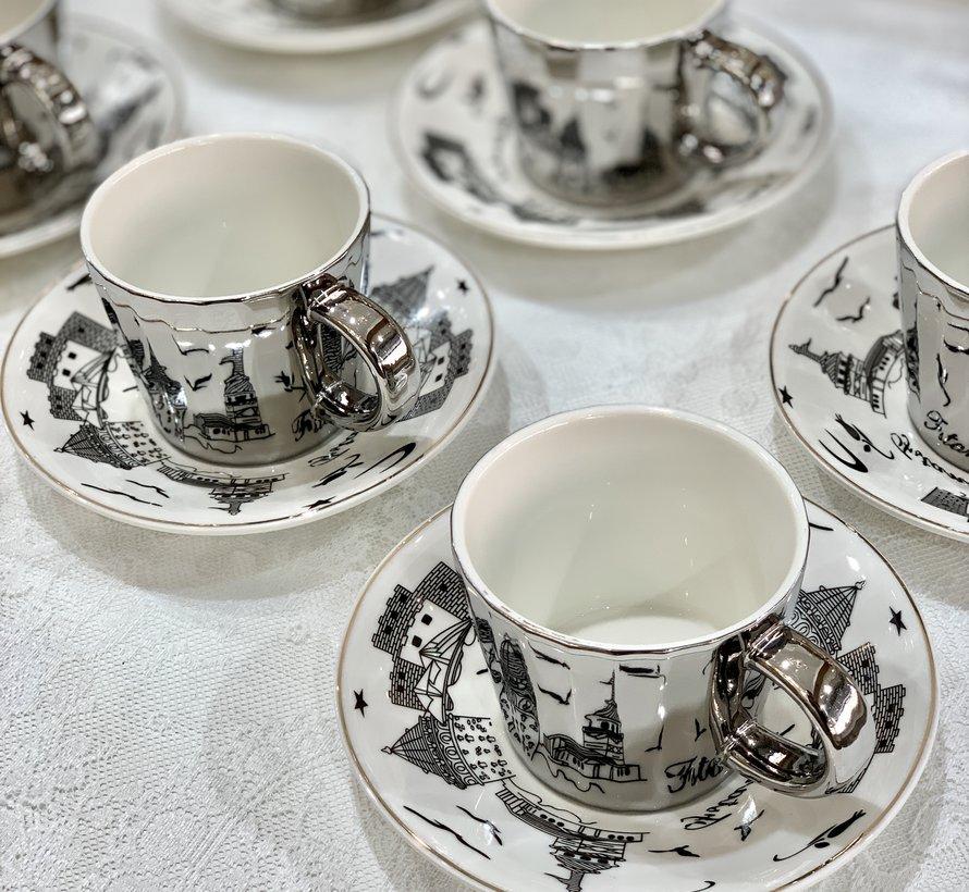 Bricard Galata 12 Delig Spiegel Espressoset Zilver