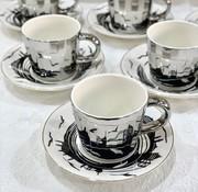 BRICARD PORCELAIN Bricard Istanbul 12 Delig Spiegel Espressoset Zilver