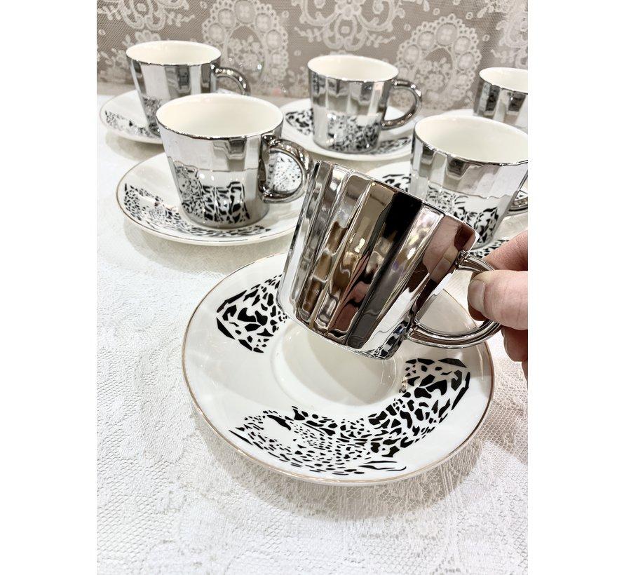 Bricard Tijger 12 Parca Aynali Turk Kahvesi Seti Zilver