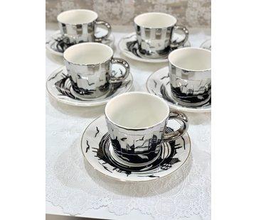 BRICARD PORCELAIN Bricard Istanbul 12 Delig Spiegel Koffie-Theeset   Zilver