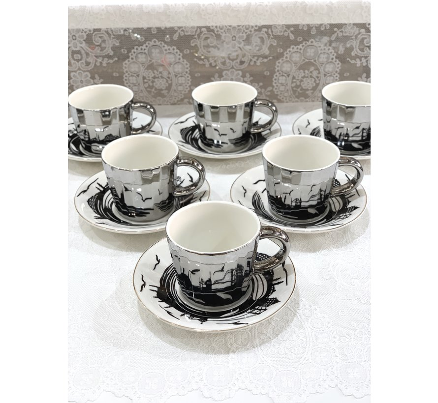 Bricard Istanbul 12 Delig Spiegel Koffie-Theeset   Zilver