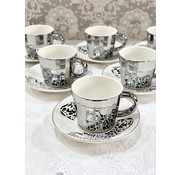 BRICARD PORCELAIN Bricard Tijger 12 Delig Spiegel Koffie-Theeset   Zilver
