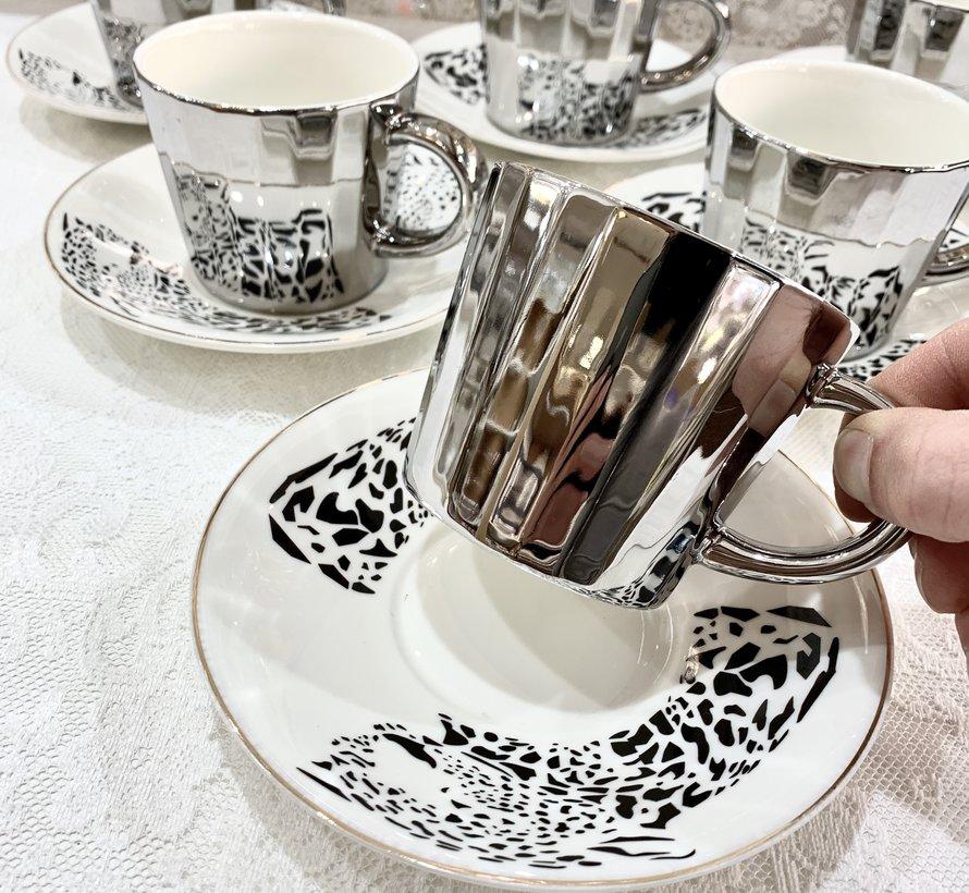 Bricard Tijger 12 Delig Spiegel Koffie-Theeset   Zilver