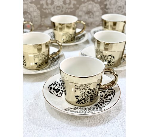 BRICARD PORCELAIN Bricard Tijger 12 Delig Spiegel Koffie-Theeset   Goud