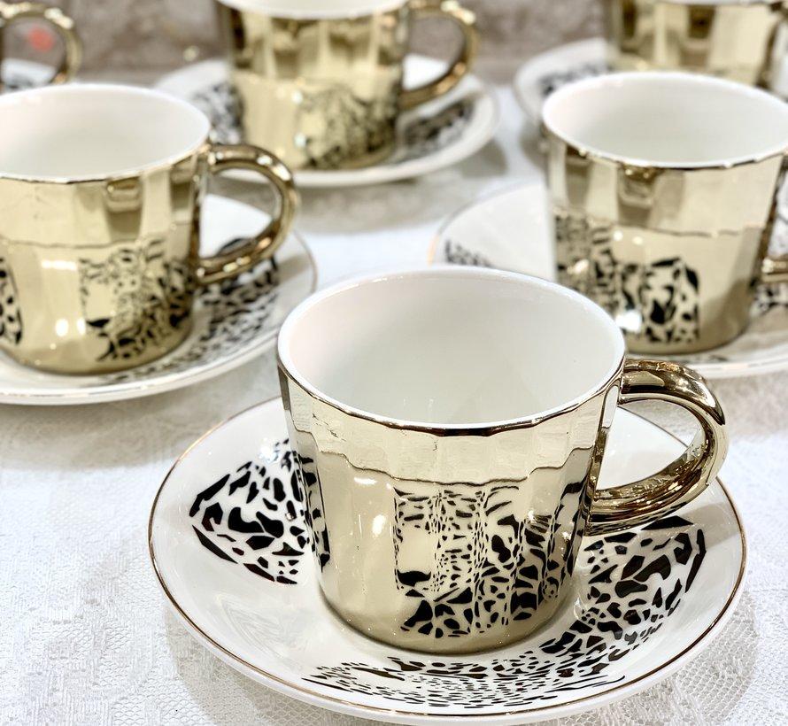Bricard Tijger 12 Delig Spiegel Koffie-Theeset   Goud