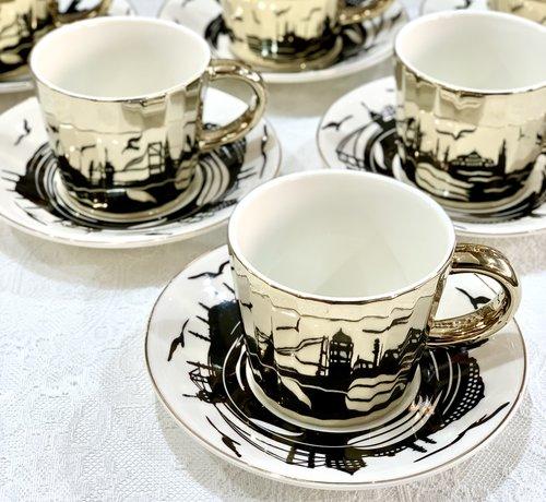 BRICARD PORCELAIN Bricard Istanbul 12 Delig Spiegel Koffie-Theeset   Goud