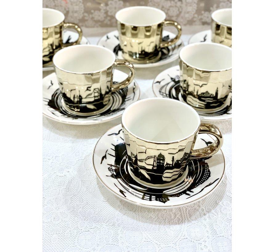 Bricard Istanbul 12 Delig Spiegel Koffie-Theeset   Goud