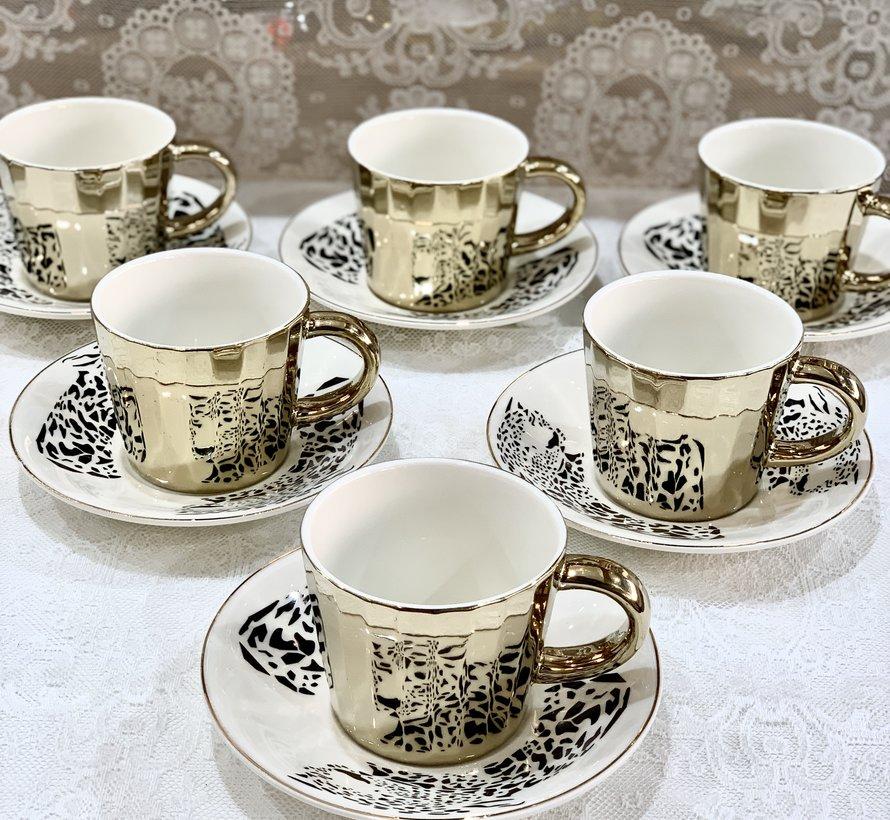 Bricard Tijger 12 Delig Spiegel Espressoset Goud