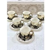 BRICARD PORCELAIN Bricard Istanbul 12 Delig Spiegel Espressoset Goud