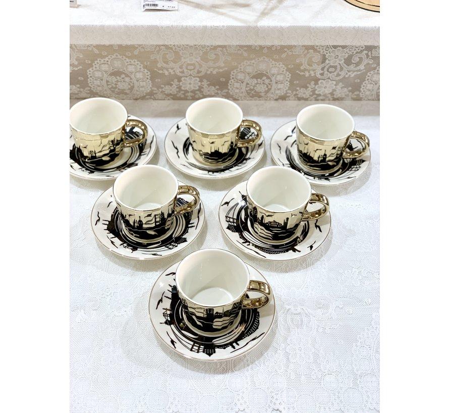 Bricard Istanbul 12 Delig Spiegel Espressoset Goud