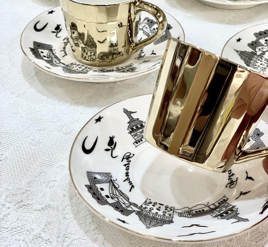 Bricard Galata 12 Delig Spiegel Espressoset Goud