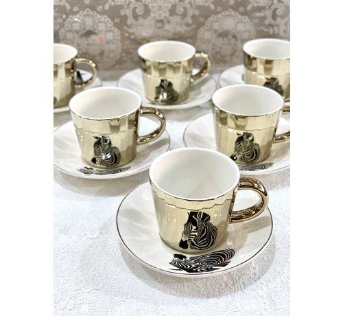 BRICARD PORCELAIN Bricard Zebra 12 Delig Spiegel Koffie-Theeset  Goud