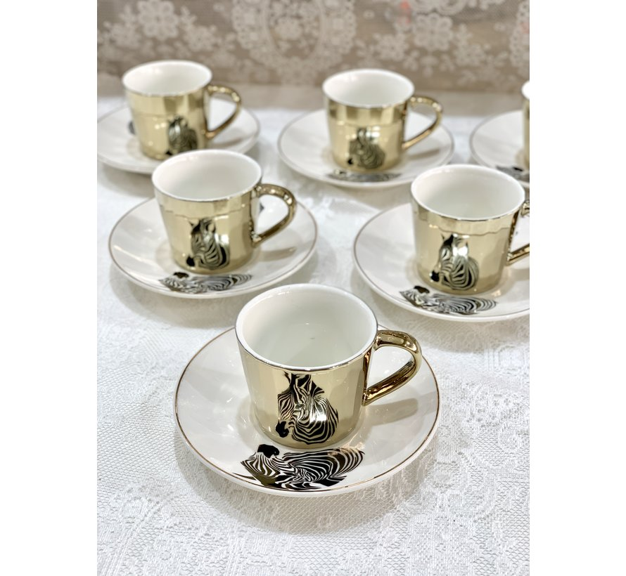 Bricard Zebra 12 Delig Spiegel Koffie-Theeset  Goud
