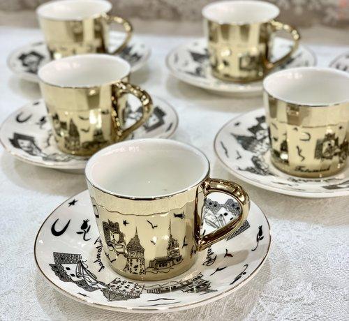 BRICARD PORCELAIN Bricard Galata 12 Delig Spiegel Koffie-Theeset Goud