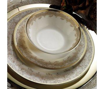 KUTAHYA Kütahya Porselen Bone Kalipso 62 Parça Desenli Yuvarlak Yemek Takımı 930621
