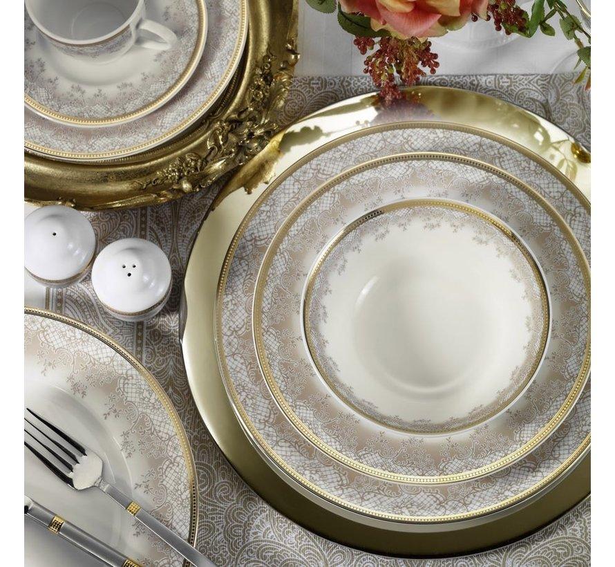 Kütahya Porselen Bone Kalipso 62 Parça Desenli Yuvarlak Yemek Takımı 930621