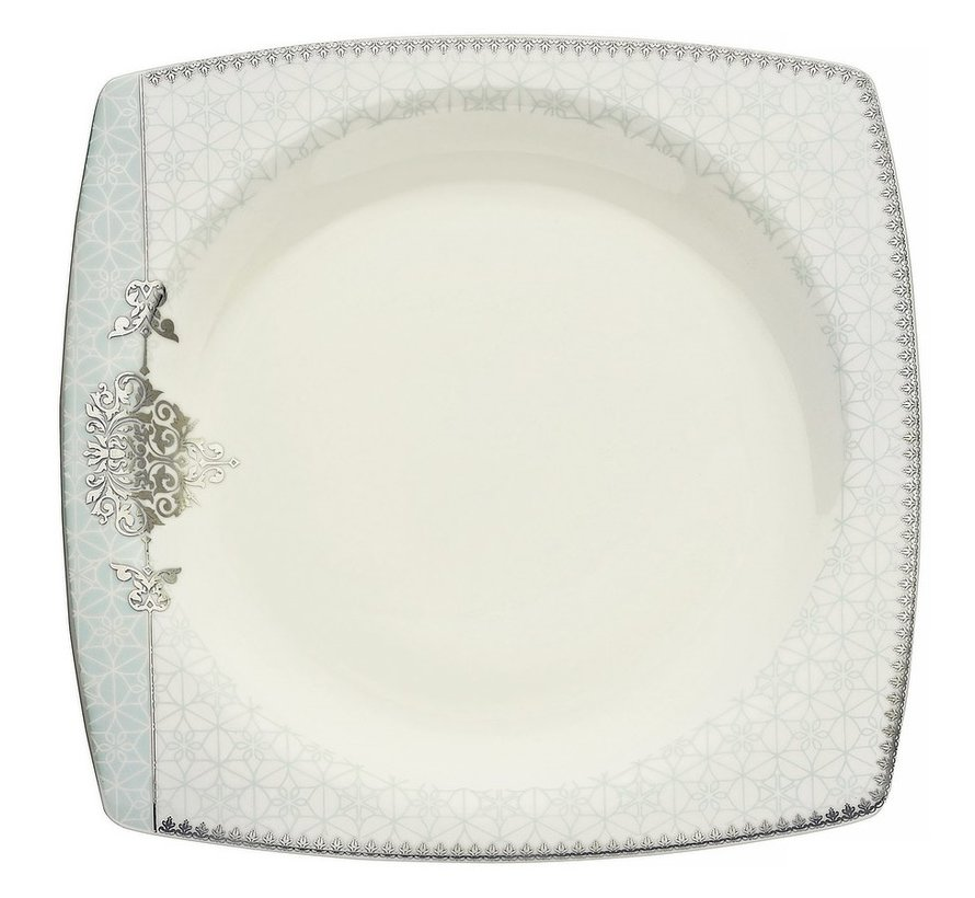 Kütahya Porselen Bone Mare 62 Parça Desenli Kare Yemek Takımı 9678