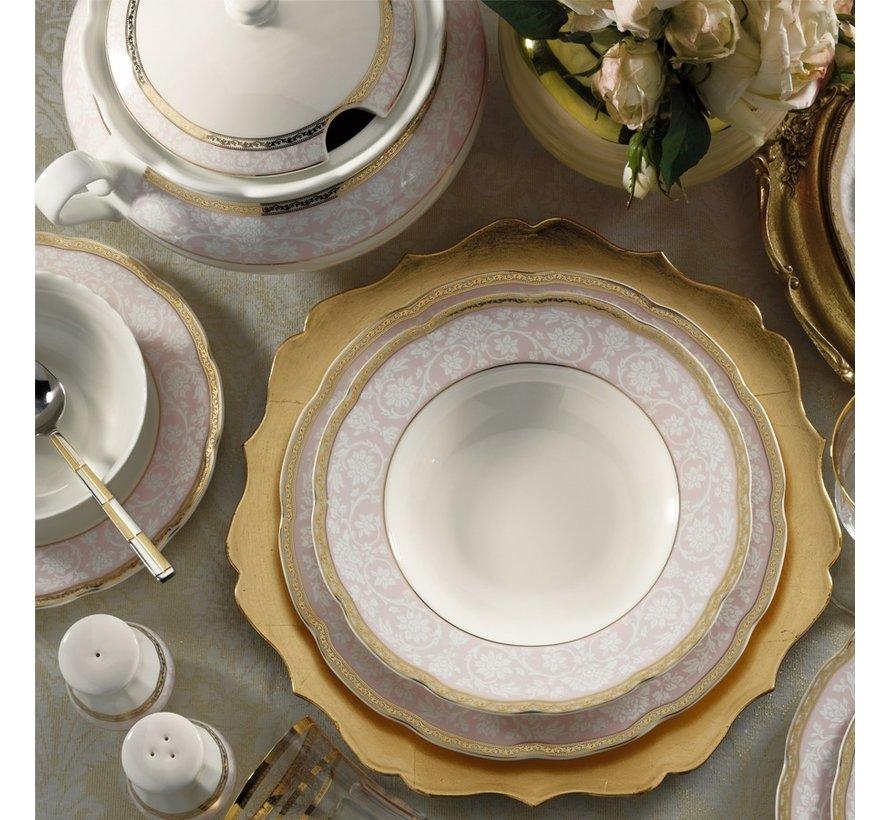 Kütahya Porselen Bone Olympos 62 Parça Yuvarlak Desenli Yemek Takımı 93374