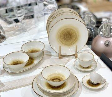 BRICARD PORCELAIN Bricard Porcelain Amiens Kahve - Sari 6-Kisilik | 25-parça Yemek Takımı