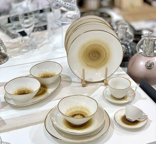 BRICARD PORCELAIN Bricard Porcelain Amiens Geel-Bruin 6-Persoons | 25-Delig Serviesset
