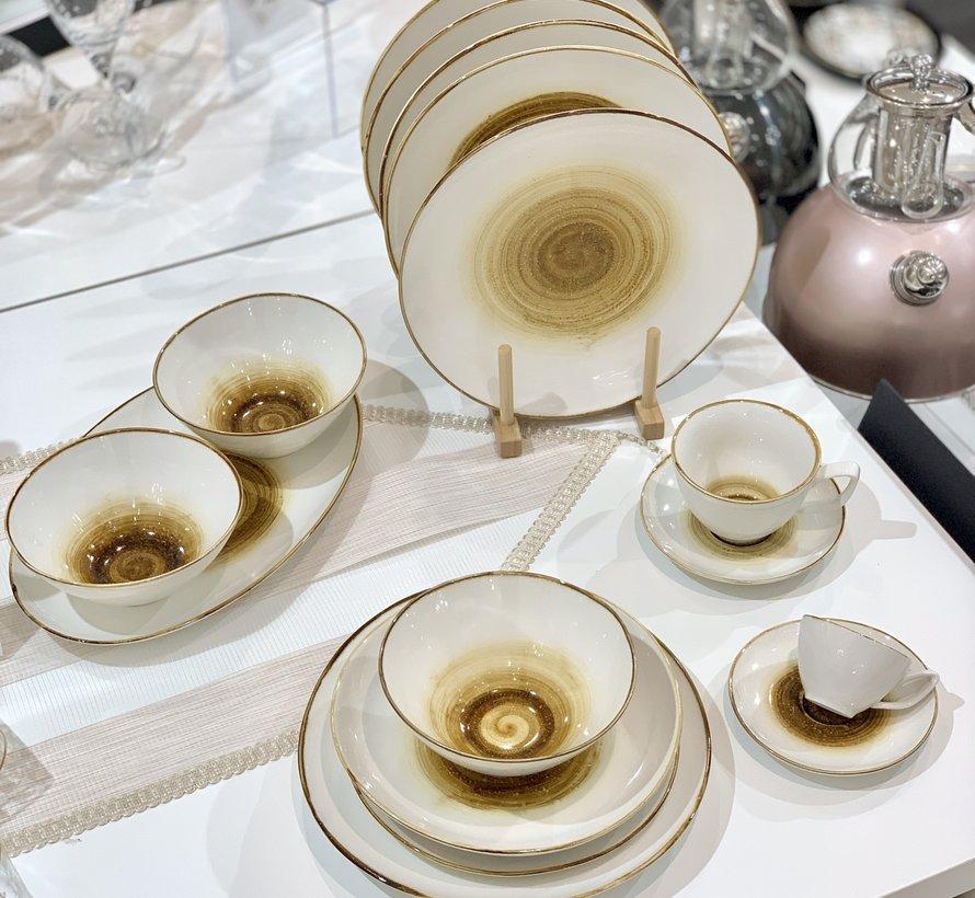 Bricard Porcelain Amiens Geel-Bruin 6-Persoons | 25-Delig Serviesset