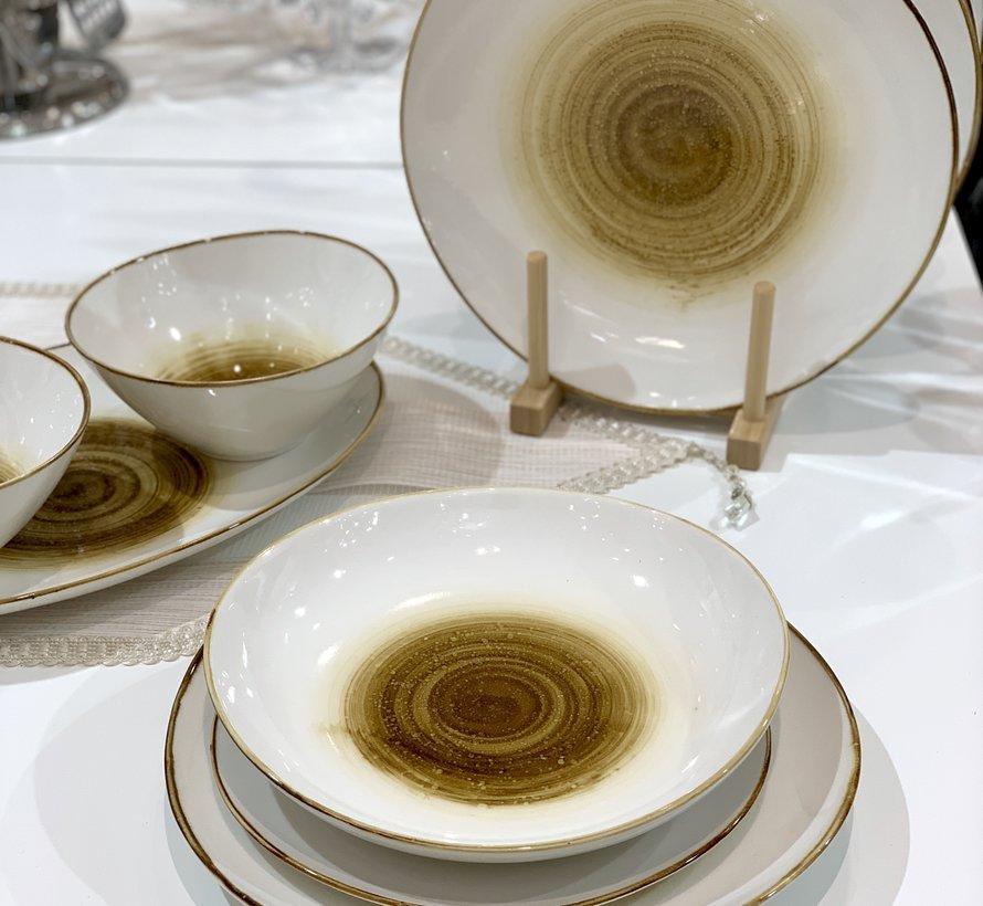 Bricard Porcelain Amiens Kahve - Sari 6-Kisilik | 25-parça Yemek Takımı