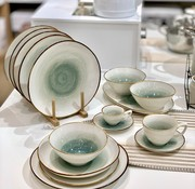 BRICARD PORCELAIN Bricard Porcelain Amiens Mavi - Kahve 6-Kisilik   25-parça Yemek Takımı