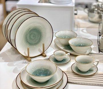 BRICARD PORCELAIN Bricard Porcelain Amiens Mavi - Kahve 6-Kisilik | 25-parça Yemek Takımı