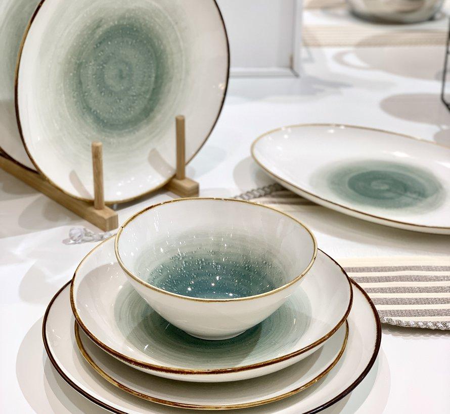 Bricard Porcelain Amiens Mavi - Kahve 6-Kisilik   25-parça Yemek Takımı