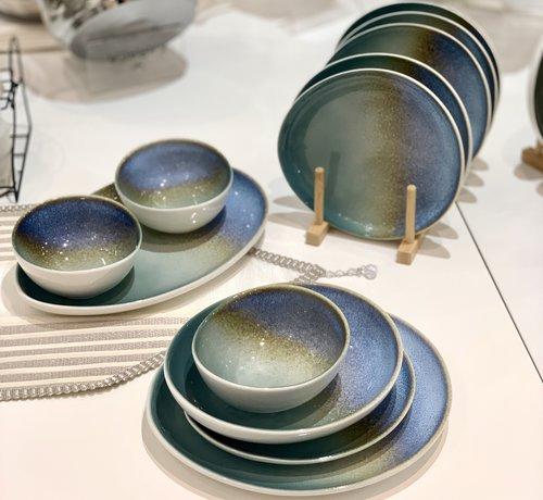BRICARD PORCELAIN Bricard Porcelain Reims Mavi - Kahve 6-Kisilik | 25-parça Yemek Takımı
