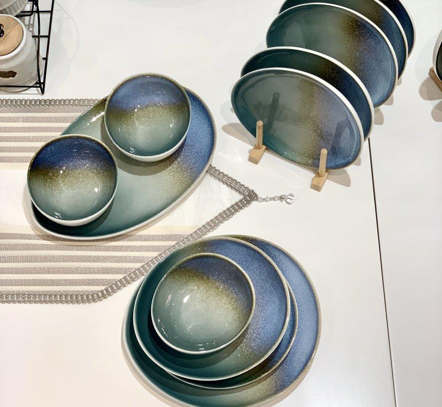 Bricard Porcelain Reims Mavi - Kahve 6-Kisilik | 25-parça Yemek Takımı