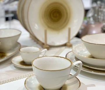 BRICARD PORCELAIN Bricard Amiens Geel Koffie & Theeset 12-Delig | 6-Persoons