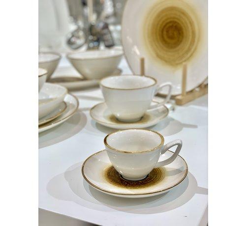BRICARD PORCELAIN Bricard Amiens Geel Espresso set 12-Delig   6-Persoons