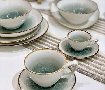 BRICARD PORCELAIN Bricard Amiens Mavi - Kahve Nescafe Kahve & Cay Takimi 12-Parca  6-Kisilik