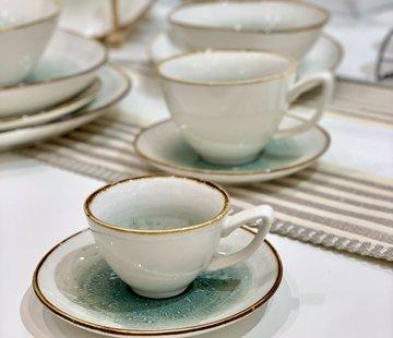 BRICARD PORCELAIN Bricard Amiens Blauw - Bruin Espresso set 12-Delig | 6-Persoons