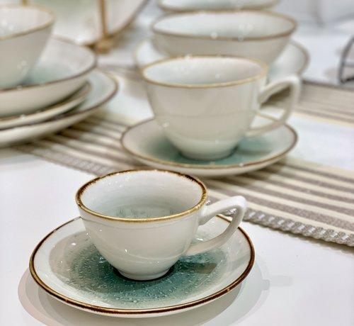 BRICARD PORCELAIN Bricard Amiens Mavi - Kahve Turk Kahve Takimi 12-Parca  6-Kisilik